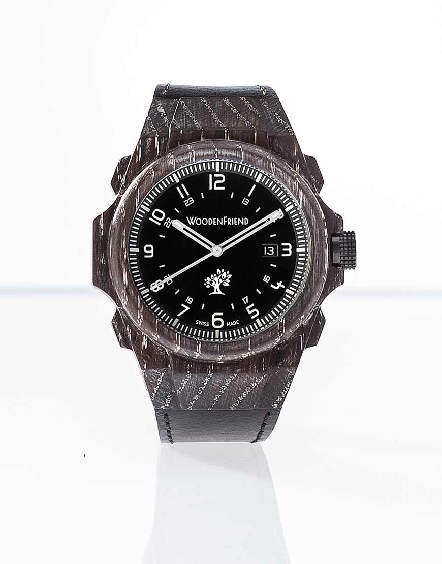 Wooden watch swiss made white brushed bog oak wood nature collection woodenfriend for Swiss made watches