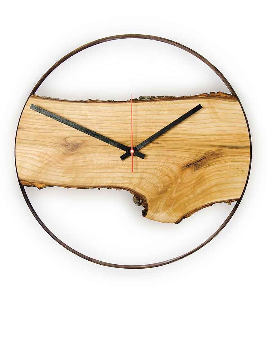 Wooden Wall Clock timeless Apple tree wood Huamet collection