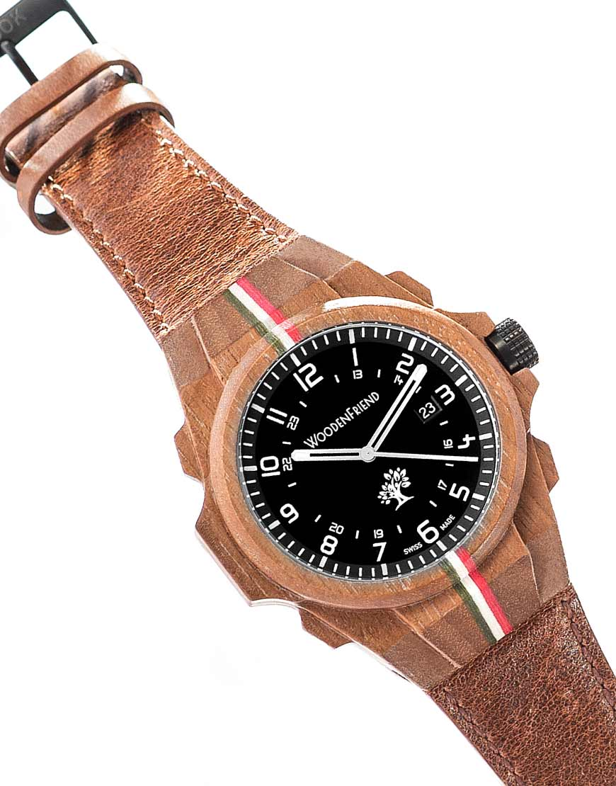 Wooden watch swiss made black walnut wood italian tricolore nature collection woodenfriend for Swiss made watches